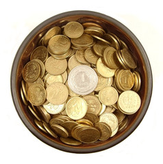bowl full of polish coins