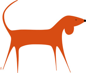 chien orange debout