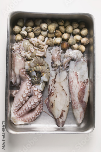 fresh seafood in stainless steel container