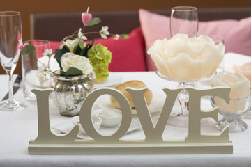 table laid for a romantic dinner