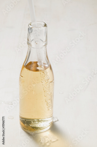 fizzy drink in bottle with straw