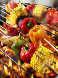 vegetable kebabs on barbecue