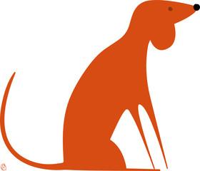 chien orange assis
