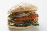 toasted roll filled with grilled vegetables