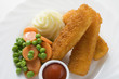 fish fingers with vegetables, mashed potato and ketchup