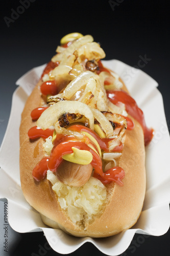 hot dog with sauerkraut, mustard, ketchup and onions