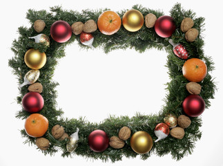 fir sprigs, baubles and nuts forming a christmas frame