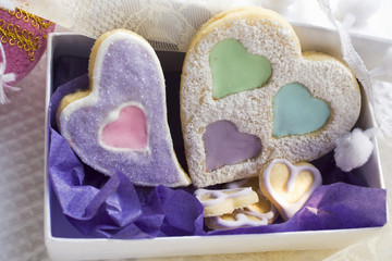 assorted heart-shaped christmas biscuits in gift box
