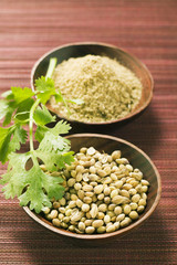coriander seeds, ground coriander and coriander leaves