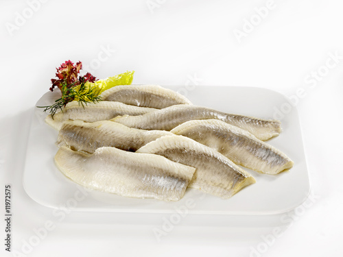 matjes herring fillets on a platter