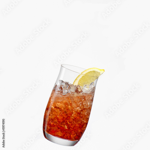 campari with ice, at an angle