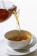 pouring tea into a teacup