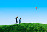 Family playing a kite. Outdoor family weekend poster
