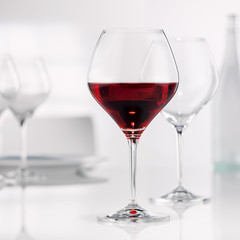 red wine in a burgundy glass