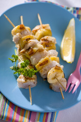 fish and banana kebabs for children