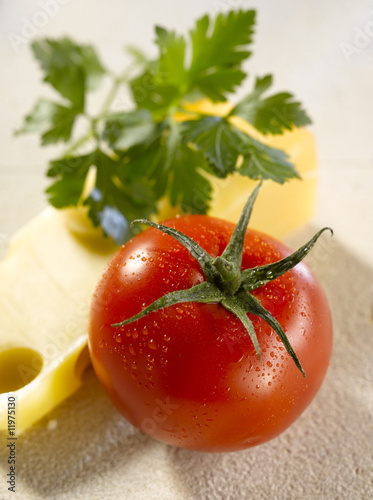 edam cheese, tomato and parsley