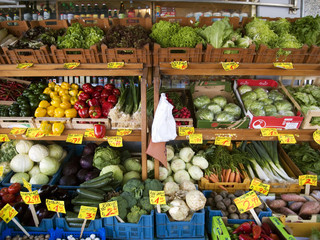 vegetables with prices in crates