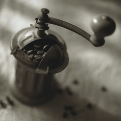 old coffee mill (black and white photo)