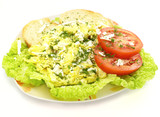 Scrambled eggs with toast bread tomato and lettuce poster