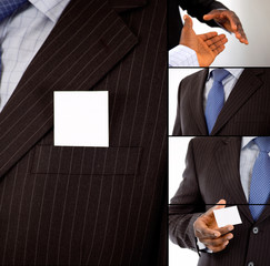 Montage of business handshake and business card