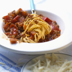 spaghetti with bolognese style tomato and vegetable sauce