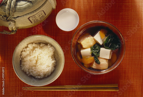 salmon-tofu soup with chard & carrots