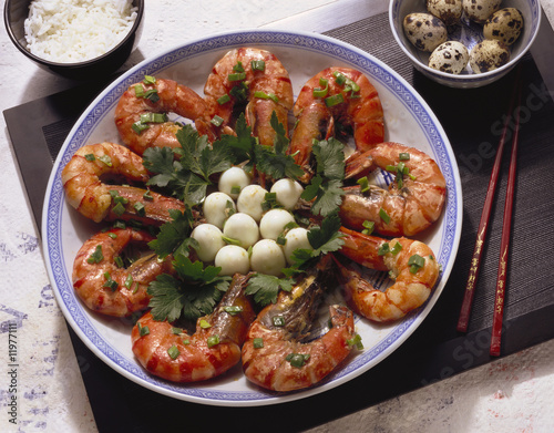 shrimp with quail eggs