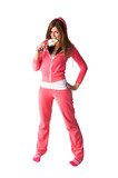 Young beautiful woman in the pink sportswear poster