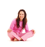 young smiley brunette in pajamas poster