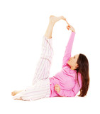 young woman in pink pajamas poster