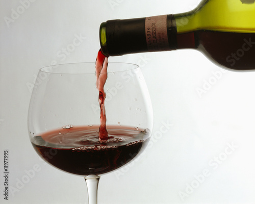 pouring chianti classico into a red wine glass