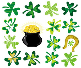 green  shamrocks and  pot with golden coins
