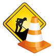 Traffic cone and construction sign