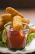 fish finger with ketchup