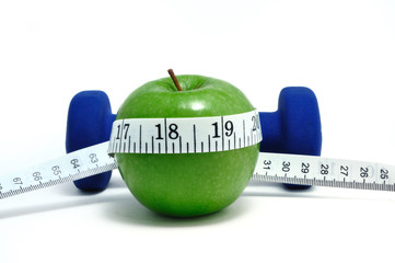Blue Weight, Green Apple, and Tape Measure