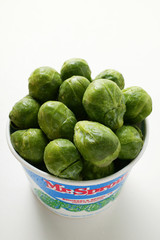 fresh brussels sprouts in container