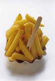 thick cut fries with wooden fork
