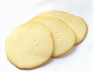three slices of gouda cheese