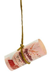 Dangling Thai baht isolated on white background