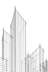abstract wireframe skyscrappers
