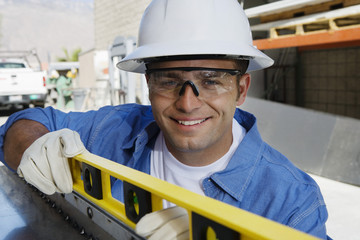Workman Using a Spirit Level