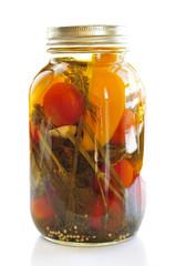 Jar of pickled vegetables