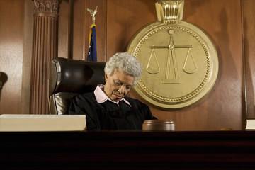 Female judge sleeping in court