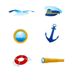 Vector nautical icons and logos