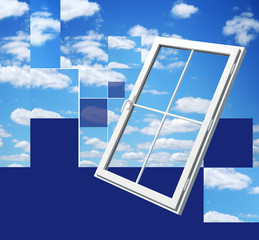 window on beautiful sky