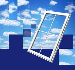 window on beautiful sky