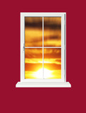 window sundown poster