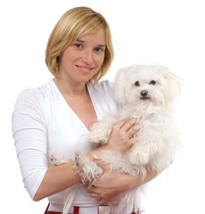 Young woman with White Maltese