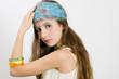 Fashion girl showing jewelry