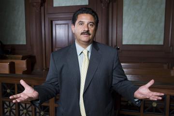 Man standing in court, portrait